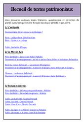 Textes patrimoniaux – Littérature – Lecture : 3eme, 4eme, 5eme Primaire