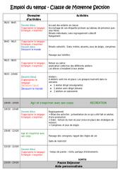 Emploi du temps – Outils de la rentrée : 2eme Maternelle – Cycle Fondamental