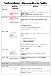Emploi du temps – Outils de la rentrée : 3eme Maternelle – Cycle Fondamental