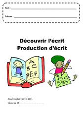 Découvrir l'écrit – Production d'écrit – Page de garde : 1ere, 2eme, 3eme Maternelle – Cycle Fondamental