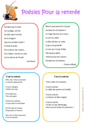 Poésies – Rentrée : 1ere, 2eme, 3eme Maternelle – Cycle Fondamental
