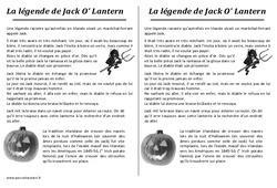 La légende de Jack o lantern – Halloween – Récit : 3eme, 4eme, 5eme Primaire