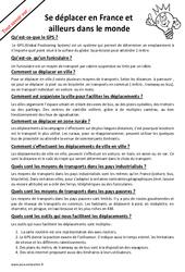 Comment se déplacer en France et ailleurs dans le monde? : 5eme Primaire