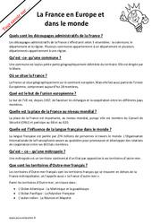 Quelle est la place de la France en Europe et dans le monde? : 4eme Primaire