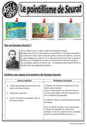 A la manière de Seurat – Pointillisme – Arts visuels : 2eme, 3eme, 4eme, 5eme Primaire