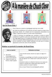 Chuck Close – Portraits – Arts visuels : 2eme, 3eme, 4eme, 5eme Primaire
