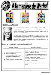 Andy Warhol – Portraits – Arts visuels : 2eme, 3eme, 4eme, 5eme Primaire