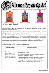 A la manière du op art – Art optique – Portraits – Arts visuels : 2eme, 3eme, 4eme, 5eme Primaire
