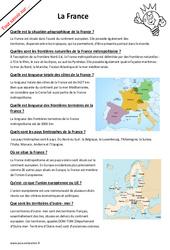 Comment expliquer la France- Fiches frontières naturelles, superficie…? : 6eme Primaire