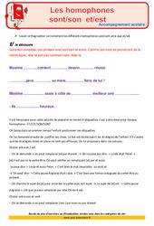 Homophones – Soutien scolaire – Aide aux devoirs : 4eme Primaire