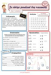 Cahiers de vacances à imprimer – Semaine 4 – Juillet : 5eme Primaire