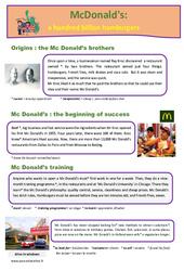 McDonald's- Fiches a hundred billion hamburgers – Anglais – Famille Vadrouille : 5eme Primaire