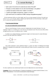 Courant électrique – Cours – Physique – Chimie : 1ere Secondaire