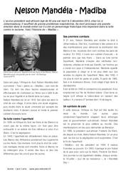 Nelson Mandela – Madiba – Afrique du Sud – Lecture – Documentaire : 3eme, 4eme, 5eme Primaire
