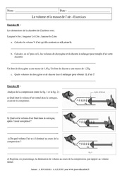 Volume – Masse de l'air – Exercices corrigés – Physique – Chimie : 2eme Secondaire