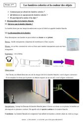 Lumières colorées – Couleur des objets – Cours – Physique – Chimie : 2eme Secondaire