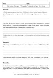 Compteur électrique – Mesure de l'énergie électrique – Exercices corrigés – Physique – Chimie : 3eme Secondaire