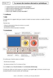 Mesure des tensions alternatives périodiques – Cours – Physique – Chimie : 3eme Secondaire