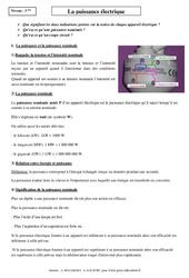 Puissance électrique – Cours – Physique – Chimie : 3eme Secondaire