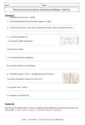 Tension continue et tension alternative périodique – Exercices corrigés – Physique – Chimie : 3eme Secondaire