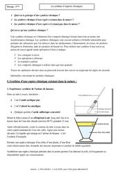 Synthèse d'espèces chimiques – Cours – Physique – Chimie : 3eme Secondaire