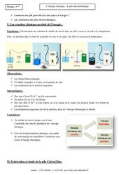 Energie chimique – Pile électrochimique – Cours – Physique – Chimie : 3eme Secondaire
