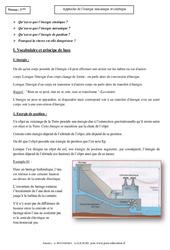 Energie mécanique et cinétique – Cours – Physique – Chimie : 3eme Secondaire