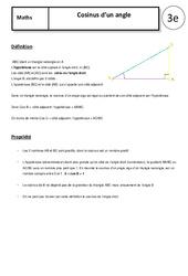 Cosinus d'un angle – Cours – Géométrie : 3eme Secondaire