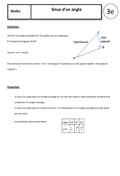 Sinus d'un angle – Cours – Trigonométrie : 3eme Secondaire