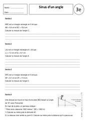 Sinus d'un angle – Exercices corrigés – Trigonométrie : 3eme Secondaire