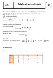 Relations trigonométriques – Cours – Trigonométrie : 3eme Secondaire