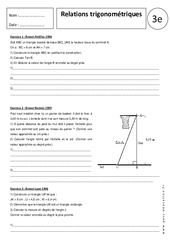 Relations trigonométriques – Exercices corrigés – Trigonométrie : 3eme Secondaire