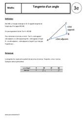 Tangente d'un angle – Cours – Trigonométrie : 3eme Secondaire