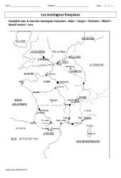 Montagnes françaises – Exercices corrigés – Géographie : 3eme Primaire