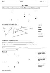 Triangle – Tracé – Vocabulaire – Exercices : 3eme, 4eme, 5eme Primaire