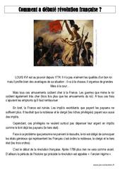 Révolution française – Exercices corrigés – Temps modernes : 4eme, 5eme Primaire