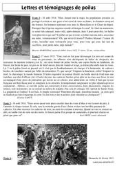 Lettres et témoignages de poilus – XXème siècle – 1ère guerre mondiale 1914 – 1918 : 5eme Primaire