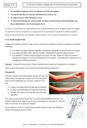 Rôle de la circulation sanguine dans le fonctionnement de l'organisme – Cours – SVT : 1ere Secondaire