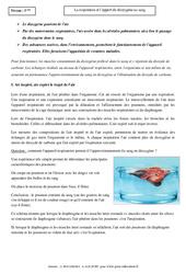 Respiration – Apport du dioxygène au sang – Cours – SVT : 1ere Secondaire