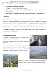 Découvrir un paysage, introduction à la géologie – Cours – SVT : 1ere Secondaire