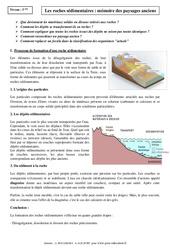 Roches sédimentaires – Mémoire des paysages anciens – Cours – Géologie – SVT : 1ere Secondaire