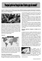 Pourquoi parle – t – on français dans les autres pays du monde – Lecture Documentaire : 3eme, 4eme, 5eme Primaire