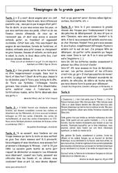 Seconde Guerre mondiale – Témoignages – Histoire – XXème siècle : 5eme Primaire