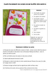 Fête des mères – Carte bouquet en cœurs – Arts plastiques : Primaire – Cycle Fondamental
