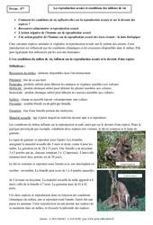 Reproduction sexuée – Conditions des milieux de vie – Cours – SVT : 2eme Secondaire