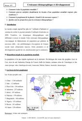 Croissance démographique et développement – Cours – Géographie : 1ere Secondaire