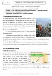 Croissance démographique et développement – Etude de cas – Géographie : 1ere Secondaire