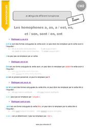 Je distingue les différents homophones – Cours, Leçon : 5eme Primaire