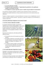 Ressources alimentaires – Cours – Géographie : 1ere Secondaire