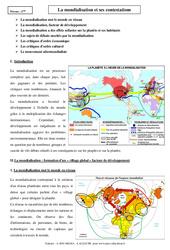 Mondialisation et ses contestations – Cours – Géographie : 2eme Secondaire